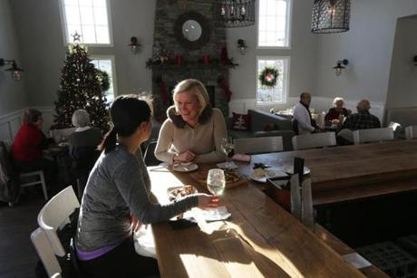 Frances Gabriel of Cohasset and Courtney Palek of Hingham have lunch at The Corner Stop Eatery.